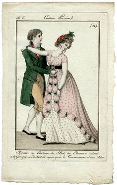 Nr 32 1797 with a MAN - in ball gown about to turn in a waltz - hair a la grecque