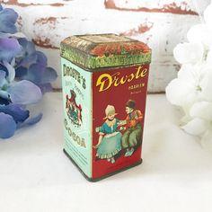 Antique Droste Cocoa Dutch tin Box w/ hinged lid 4 oz storage container advertising retro red kitchen decor tea by WonderCabinetArts