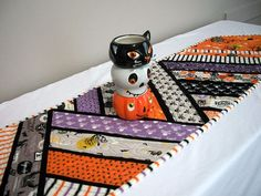 Halloween Table Runner Quilted FREE US Shipping Quiltsy
