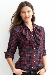 Banana Tall Flannel Ruffle Shirt