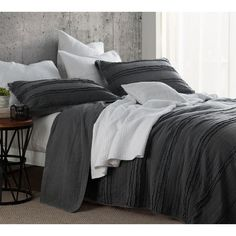 BYB Ruffled Stone Washed Pewter Quilt Set | Overstock.com Shopping - The Best Deals on Quilts