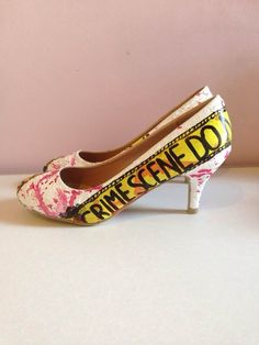 437452dd054c6e Victim! White textured *choose your own style* shoes with yellow crime  scene tape