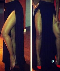 Shop from the best fashion sites and get inspiration from the latest double slit maxi skirt. Diy Fashion, Fashion Outfits, Womens Fashion, Style And Grace, My Style, Grecian Goddess, Ootd, Sexy Skirt, Dress Skirt