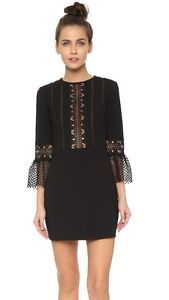SELF-PORTRAIT-BLACK-BELL-SLEEVE-LACE-INSERT-DRESS-UK-10