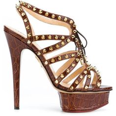 Charlotte Olympia studded platform sandals ($1,315) ❤ liked on Polyvore featuring shoes, sandals, brown, studded sandals, spiked sandals, platform stilettos, brown stilettos and stiletto sandals #charlotteolympiaheelsplatform