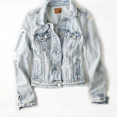 AEO 's Light Destroyed Denim Jacket (Light Wash) from American Eagle Outfitters. Saved to Things I want as gifts. Bleached Denim Jacket, Destroyed Denim Jacket, Distressed Jean Jacket, Blue Jean Jacket, Coats For Women, Clothes For Women, Diy Clothes, Straight Jacket, American Eagle Outfitters Jackets