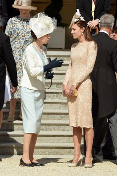 Kate Middleton: Queen Elizabeth II Hosts a Garden Party. Anne, Princess Royal and Catherine, Duchess of Cambridge talk during a garden party held at Buckingham Palace on June 10, 2014 in London, England.