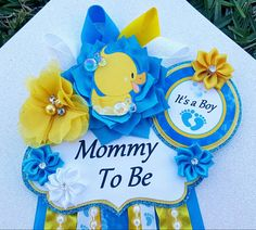 Baby Boy Rubber Ducky Bubbles Blue Yellow Themed Mommy To Be Baby Shower Corsage Or Badge Baby Shower Badge, Rubber Ducky Baby Shower, Baby Shower Duck, Diaper Shower, Baby Shower Cakes, Baby Shower Parties, Baby Shower Themes, Shower Party, Shower Ideas