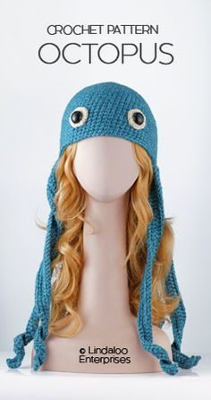 "Awesome OCTOPUS HAT CROCHET PATTERN from the book ""Amigurumi Animal Hats Growing Up"" by Linda Wright. 20 crocheted animal hat patterns for Ages 6-Adult. Book available at Amazon.com and BarnesandNoble.com. http://www.amazon.com/dp/1937564991/"