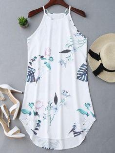 Floral Printed Cami Dress - White L Sexy Dresses, Cute Dresses, Casual Dresses, Short Dresses, Fashion Dresses, Summer Dresses, Look Fashion, Trendy Fashion, Plus Size Fashion