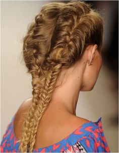 french to fishtail....hair at Mara Hoffman