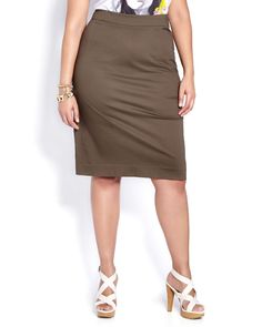 Feminine prints & soft shapes for some added romance to military khaki. Love & Legend khaki pencil skirt from Addition Elle summer 2015 plus size fashion