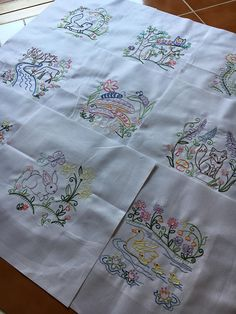 Vintage Woodland animals embroidered quilt blocks ready to