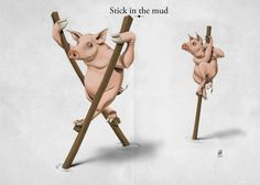 """Stick in the Mud"" by Rob Snow on Displate #pigs #animal #illustration #displate #humour #funny"