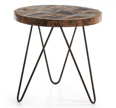 Mesa auxiliar redonda Vintage Afton   Material: Forja o Hierro   Mueble realizado los pies de hierro negro y sobre de madera reciclada en acabado envejecido... Eur:189 / $251.37