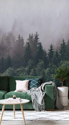 Wenn Sie schauen, eine ultimative Gefühl der Ruhe und Ruhe in einem Raum zu schaffen, unsere Into The Woodlands Wallpaper Wandbild ist eine perfekte Wahl. Flucht in die Natur in dem Komfort des eigenen Heims. Diese schöne Wandtapete stellt einen verschleierten grünen Wald im Nebel, und wäre das perfekte ruhige charakteristische Merkmal in Ihrem Zimmer. #Wall #mural #WallPaper #interior #decoration #decor
