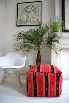 Unique handmade Kelim/kilim Moroccan/poef/ pouf / ottoman / foot stool of wool,made by Jan&Jacob by janenjacob on Etsy