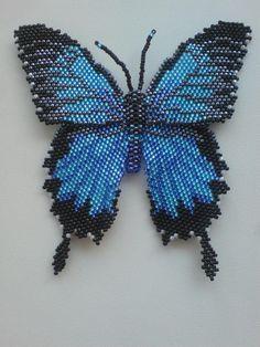 Бабочка. Парусник Улисс. Голубой. | biser.info - всё о бисере и бисерном творчестве