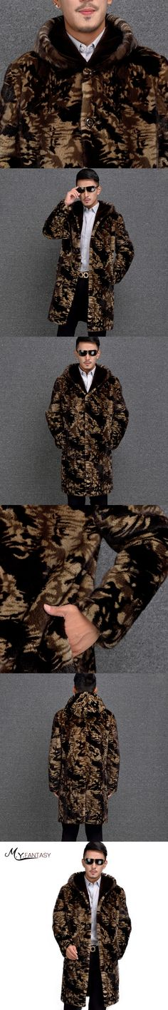 M.Y.FANSTY 2017 Winter Import USA Cool Mink Man Real Fur Mink Coat Single Breasted Jacket With Hat Long Camouflage Mink Coats