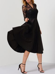 Black V Neck Sheer Mesh Lace Dress