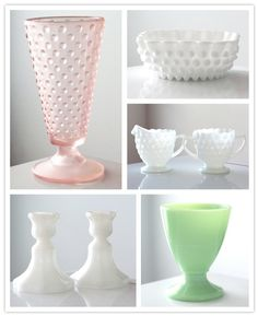 """Vintage glass, from milk to jadeite to rose pink from Etsy seller """"jaditekate"""". Her collection is so pretty and affordable."""