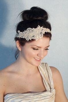 Bridal gold lace headband with pearls, boho headband, boho chic bride, bridal headpiece