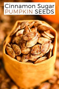 Homemade Roasted Cinnamon Sugar Pumpkin Seeds Recipe! Don't throw away the seeds when you carve pumpkins this year! Save them and make this recipe for the perfect sweet and salty fall snack! Vegan, gluten-free and dairy-free! and paleo-friendly! #pumpkin #pumpkinseeds #homemade #healthy #recipe #glutenfree #dairyfree #vegan #cinnamonsugar #paleo Spicy Pumpkin Seeds Recipe, Pumpkin Seed Recipes Baked, Cinnamon Sugar Pumpkin Seeds, Best Pumpkin Seed Recipe, Savory Pumpkin Seeds, Toasted Pumpkin Seeds, Healthy Pumpkin, Air Fryer Pumpkin Seeds, Low Carb Granola