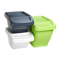 Recycle Bins  Our Recycling Bins have angled fronts to allow access to all the bins, even when stacked. The hinged lid allows you to open the bin while stacked - it can stay open for easy access when they are not stacked. Create color-coded storage or recycling or use the included labels (Plastics, Paper and Glass) to ensure your recycling is sorted properly.  The Container Store
