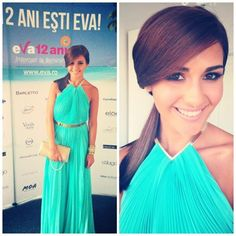 Alina Eremia wearing our long pleated summer dress with metalic necklace and belt at EVA awards