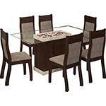 Conjunto de Mesa de Jantar Egito com 6 Cadeiras Choco/Suede Canela - Viero Moveis