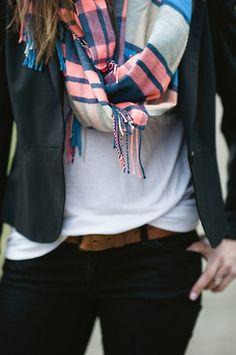 white, black, navy blazer, & of course a scarf