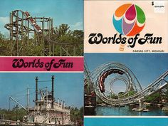 Worlds of Fun Souvenir Book Front and back cover - 1977 (Les & I went in Happy Summer, Summer Fun, Family Fun Places, Kansas City Missouri, Worlds Of Fun, Back In The Day, Time Travel, Childhood Memories, Places To Visit