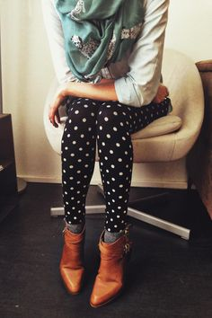 Cognac booties, polka dot leggings and a dalmatian scarf...freaking adorable