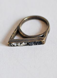 """Pyrite """"lady grey""""  ring - angular ring with two-tone, crushed pyrite stones."""