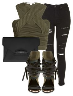 """""""Untitled #111"""" by laurenmq ❤ liked on Polyvore featuring Topshop, Jonathan Simkhai, Givenchy, Ivy Kirzhner, croptop, jeans and olivegreen"""
