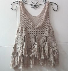 Bilderesultat for crochet hippie jacket Tops A Crochet, Crochet Summer Tops, Crochet Shirt, Crochet Crop Top, Love Crochet, Beautiful Crochet, Crochet Lace, Crochet Bikini, Crochet Granny