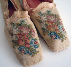 Maria Niforos -Circa 1800's, Rare Canvas Ladies Shoes w/ Needlepoint Flowers