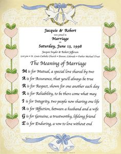 The meaning of Marriage poem.  Each letter of marriage means something. #marriage #poem view more  WeddingMuseum.com http://www.weddingmuseum.com/weddingblog/