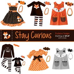Stay Curious Fox Outfits! Many NEW exclusive outfits ready to pre-order now available in 0-6 months to size 10/12! Mommy and me outfits, boy outfits, hoodies and more - shop now and save...