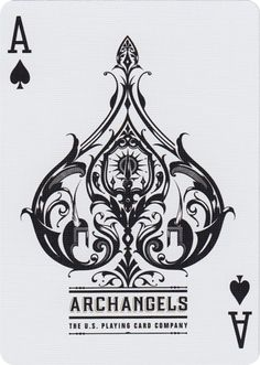 The Ace of Spades - Bicycle® Archangels Playing Cards / Elementos bastante detalhados que formam o símbolo do naipe