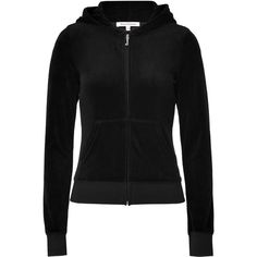 JUICY COUTURE Black Velour Choose Couture Hoodie ($150) ❤ liked on Polyvore