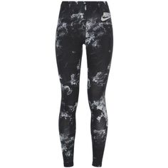 Nike Leggings ($41) ❤ liked on Polyvore featuring pants, leggings, black, nike pants, patterned trousers, form fitting pants, patterned pants and cotton leggings