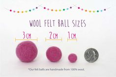 *100% handmade wool felt balls  *ball size - 2 cm  *25 wool felt balls - you choose the colors  This listing is for (25) 2 cm wool felt balls. I have over 50 colors to choose from. You pick and choose your favorites! Please make a note of the colors you want in the note to seller section during checkout so I will know the colors you want. PLEASE SEE THE COLOR CHART IN THE THIRD PHOTO FOR ALL THE AVAILABLE COLORS.  These pom pom balls are lovingly handmade and hand dyed and therefore may…