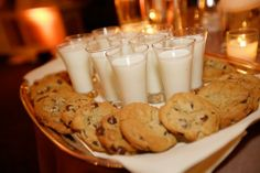 Bridal Bliss Wedding: warm cookies and shot of milk for dessert!