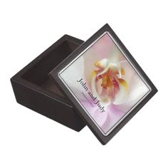 Trinket boxes with a Pink Orchid theme for your special little Wedding memory pieces: Personalized Pink Orchid Wedding Gift Box - click/tap to see the slideshow for related designs