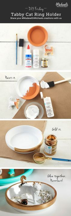 DIY Tabby Cat Ring Holder | Pinterest: Natalia Escaño #DIY #crafts