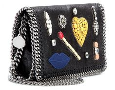 Stella Mccartney Crystal Embellished Clutch Black Silver Lips Match. A little bit of crystal and a rocky style, but nice and fun to wear. -> https://www.amazon.com/Stella-Mccartney-Crystal-Embellished-Clutch/dp/B00FKX76IG//ref=as_li_ss_tl?ie=UTF8&linkCode=ll1&tag=wernet0f-20&linkId=8008cfd6aa43fa1845d5b32663f75b47