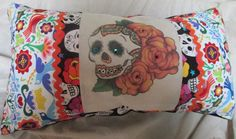 Dia de Los Muertos Pillow Sugar Skull, Day of the Dead, Halloween, Dorm Decor 12x24  Insert included. $29.50, via Etsy.