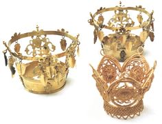 Bridal crowns belonging to the church of Sollerön parish, Dalarna, Sweden. It was/is traditional for a Swedish bride to wear a crown on her wedding day. Some families were fortunate to own one, but in most cases, the bride used one owned by the church. Wedding Gowns, Wedding Day, Head Coverings, Swedish Fashion, Queen Of England, Circlet, Bridal Crown, Folk Costume, Tiaras And Crowns