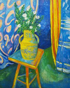The Yellow Vase by Bernard Oulie - Original Oil on Canvas Yellow Vase, Still Life, Bouquets, Oil On Canvas, The Originals, Artwork, Painting, Work Of Art, Bouquet